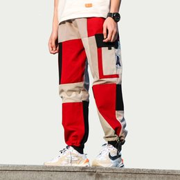 pants block UK - Mens Color Block Patchwork Cargo Harem Joggers Pants Streetwear Male 2019 Hip Hop Casual Tactical Trousers Sweatpants