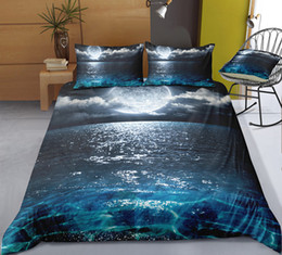 $enCountryForm.capitalKeyWord Australia - Night Beach Bedding Set King Mysterious Moon 3D Printed Duvet Cover Queen Home Textile Double Single Bed Set With Pillowcase 3pcs