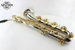 Plated Nickel Australia - New SELMER E Flat Baritone Saxophone High Quality Brass Nickel Plated Body Gold Lacquer Key Musical Instruments With Canvas Case