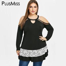 a68a96a89ef PlusMiss Plus Size 5XL Sexy Cold Shoulder Lace Crochet Blouse Women Long  Sleeve Spring Tunic Tops Big Size 2019 XXXXL XXXL XXL