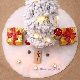 Wholesale Christmas Tree Skirt White Claus Xmas Round Stand Ornaments Base Floor Mat Cover Home Party Decor
