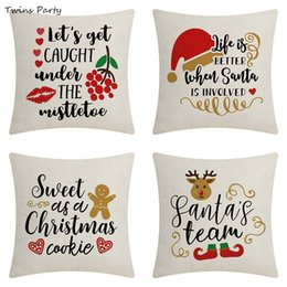 black couch throw pillow Canada - Twins 45*45cm Christmas Throw Pillow Covers Colorful Decorative Couch Throw Pillow Cases Vintage Christmas Pillowcase