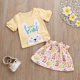 Cute outfits for spring online shopping - Toddler Baby Clothes Set Girls Letter Easter Rabbit Ruffles Tops Skirt Outfits Set costume for girls vetement enfant