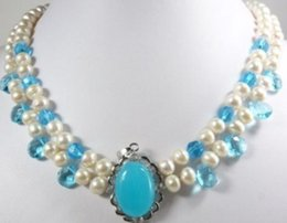 $enCountryForm.capitalKeyWord Australia - necklace Free shipping ++++Free shipping@@@@@ Hot! 2 color White Freshwater Pearl pink & Blue Jade Moonstone Pendant Necklace A341 JHIH87KJ