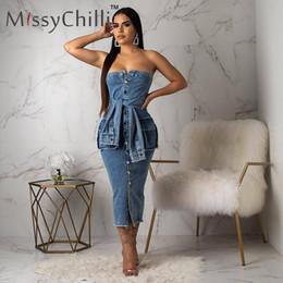 Wholesale plus size blue jeans dresses for sale – plus size MissyChilli Off shoulder bodycon blue jeans dress Women PLUS SIZE autumn elegant dress for Female party night club denim dresses
