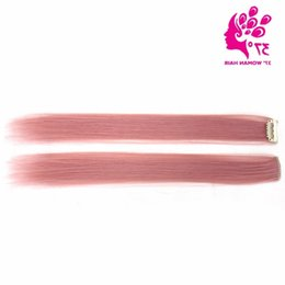 Synthetic Hair Clip Bangs Australia - 16inch Synthetic Hair Clip In One Piece Color Strips Straight Hairpiece For Sports Fans 10pcs