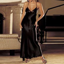 $enCountryForm.capitalKeyWord NZ - Plus Size Night Dress Nightgown Sexy Nightwear Lace Patchwork Camisola Lingerie Nighty Silk Long Dress Sleep Wear Clothes