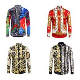 $enCountryForm.capitalKeyWord Australia - Luxury Designer Popular New Design Floral 3D Print Men's Fashion Casual Lapel Long Sleeve T Shirts Tees 4Color Man Shirts