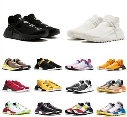 golf blanks NZ - Cheap Human Race trail Running Shoes Men Women Pharrell Williams HU Yellow blank canvas Red Equality Nerd sports runner sneakers