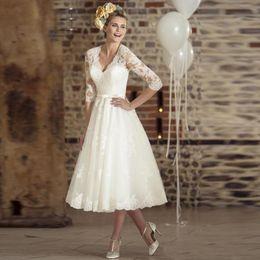 $enCountryForm.capitalKeyWord Australia - Vintage 50's Style Lace Short Wedding Dress A Line V Neck Cheap Beach Bridal Dresses 2019 Long Sleeves Wedding Gowns