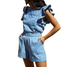 $enCountryForm.capitalKeyWord Australia - Summer Women Playsuit Ruffles Pockets Sleeveless Denim Playsuit Clubwear Shorts Jumpsuit Romper Women 2019