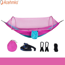 Wholesale Acehmks Sky Blue Color Matching Camping Hammock Swing For Adults Outdoor Furniture Outdoor Swing Mosquito Net Hammock
