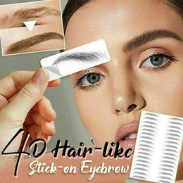 false eyebrows wholesale UK - Magic 4D Hair-like Eyebrow Tattoo Sticker False Eyebrows Waterproof Lasting Makeup Water-based Eye Brow Stickers RRA3097