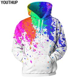 color 3d painting NZ - YOUTHUP 2018 3d Hoodies For Men Women Spray Paint Print Hooded Sweatshirts Men Rainbow Color Hoodies 3d Pullover Fashion Outwear