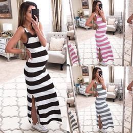 $enCountryForm.capitalKeyWord Australia - Summer Sleeveless Striped Round Collar Split Dress Maternity Skirt Dress