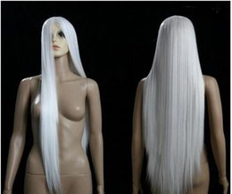 Kanekalon Lace Wigs NZ - FREE SHIPPIN + + C Sexy Anime Cosplay Long Party White Hair 100cm long cosplay wig Kanekalon hair queen brazilian no lace front made wig