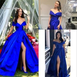 Wholesale 2020 Split Off the Shoulder Sleeveless Evening Party Wear Royal Blue A Line Sexy Prom Dress