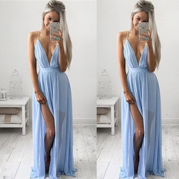 Bright Maxi Dresses Dgt Sexy Deep V-neck Baby Blue Prom Dresses 2017 Chiffon Spaghetti Straps V  Neck Side Split Evening Dresses Cheap Maxi Party Dresses BA2184