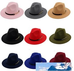 elegant sun hats for women UK - Fashion TOP hats for men & women Elegant fashion Solid felt Fedora Hat Band Wide Flat Brim Jazz Hats Stylish Trilby Panama Caps 5 pcs