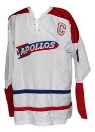 China Custom Houston Apollos Retro Hockey Jersey New White Personalized stitch any number any name Mens Hockey Jersey XS-5XL cheap jersey houston suppliers