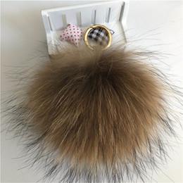 "$enCountryForm.capitalKeyWord Australia - 15cm 6"" Natural Brown Real Raccoon Fur Pompom Ball Charm Key Chain Keyring Accessories Phone Purse Handbag(Can Accept Custom)"