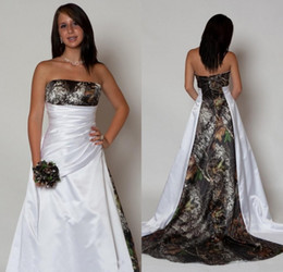 Wholesale New Arrival Country Camo Wedding Dresses with Pleats Empire Waist A line Sweep Train Camouflage Strapless Bridal Gowns