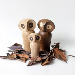 Wholesale Nordic Design Animal Lovely Wooden Elephant Owl Miniature Home Decor Figurines Table Decoration Kids Room Chrismas Gifts Y19062704