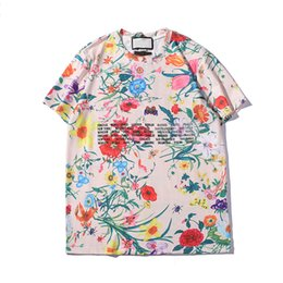 mens patterned tees Australia - Mens T Shirt Luxury Flower Summer Casual New Designer Clothes Letters Printed Short Sleeve Pattern Top Colorful Tees Asian size