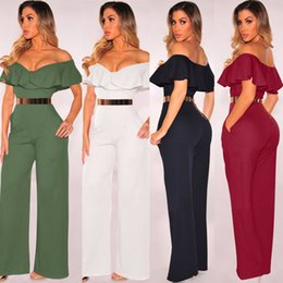 hottest jumpsuits Australia - Hot Ruffle One word collar Leisure Formal wear Sexy Solid Jumpsuits