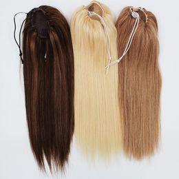 Toptan satış İnsan Düz At Kuyruğu Saç 100g Doğal Olmayan Remy Saç at kuyruğu sıkı delik İpli Ponytails Saç Uzantıları Klip