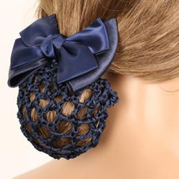 $enCountryForm.capitalKeyWord Australia - 1pc Stylish Floral Lace Satin Bow Barrette Lady OL Hair Clip Cover Bowknot Bun Snood Headband Hairnet Women Hairgrips Clips