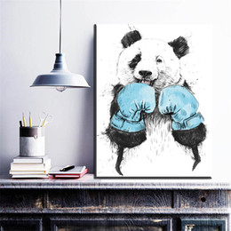 $enCountryForm.capitalKeyWord Australia - 1 Piece Panda Nordic Poster Canvas Painting Watercolor Wall Art Posters And Prints Abstract Wall Pictures For Living Room No Framed