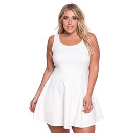 Dress Big Size Knees NZ - Women Plus Size Dress Big Large Size Sleeveless Solid Summer Sundress Female Casual Party Slim A-line Dress White Vintage Dress
