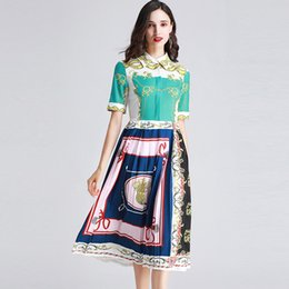 66d6e739c062b Collar Neck Work Dress UK - Women's Runway Dresses Turn Down Collar Short  Sleeves Printed Pleated