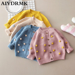 Wholesale pompom clothing for sale - Group buy Kids Sweaters Winter Baby Girl Sweater Pompom Cotton Woolen Kids Toddler Girls Cardigan Knitted Baby Clothes Boy Sweater