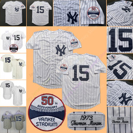 bae9f1e6f84 Thurman Munson Jersey Yankees MN 1969 1973 Cooperstown New York Cream White  Pinstripe Grey Black Home Away All Stitched