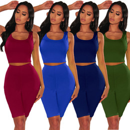 Wholesale ladies high neck red t shirt for sale – custom Two Piece Pants for Women Sexy Lady bodycon Jumpsuits Elastic Scoop Neck T Shirts Dresses Lady Party Casual Fashion Night Club Clothing Suit