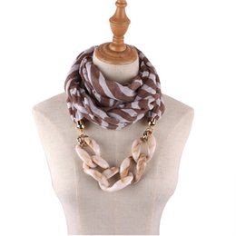 Cotton Scarves Pendants Australia - Fashionable striped chiffon pendant scarf necklace ladies scarf headscarf resin effect jewelry pendant free shipping
