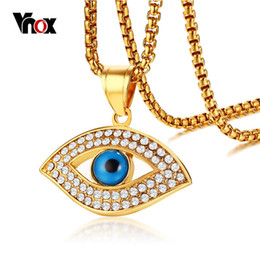 Blue eye pendant online shopping - Vnox Trendy Gold Color AAA CZ Stone Necklaces for Women Men Luxury Jewelry Stainless Steel Blue Eye Pendant Necklace quot Chain