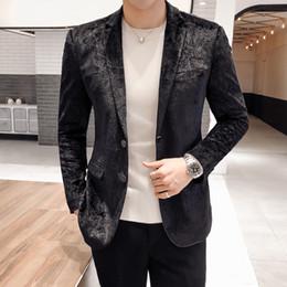 dinner coat men 2019 - 2019 British Style Dress Dinner Velvet Blazer Homme Slim Fit Suit Coat Jacket Luxury Party Prom Blazer Black Velvet Suit
