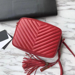 Real Camera Australia - 2019 Famous High quality Women handbags calfskin real leather Zipper purse chevron designer Tassel messenger bag soft lou camera bag