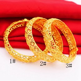 Womens Gold Bangle 18k NZ - Newest Hollow Bangle 18k Yellow Gold Filled Wedding Womens Bracelet Classic Lady Jewelry Gift Wide Accessories