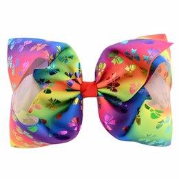 $enCountryForm.capitalKeyWord UK - 1pcs 8 Inch Printed Large Bow Clip Butterfly Polka Dots Rainbow Hairpin Big Hair Clip Handmade Hair Accessories For Girls 827