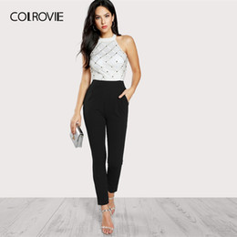 working women jumpsuit UK - Colrovie Black And White Riveted Plaid Embellished Halter Backless Elegant Jumpsuit Women High Waist Skinny Ladies Jumpsuits Y19060501