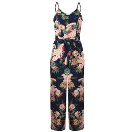 beach jumpsuits women UK - Fashion Women Romper 2019 Summer Jumpsuit Office Lady Loose Casual Beach Wear Backless Flower Printed Sashes Jumpsuit Overalls
