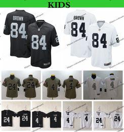a936237367e Youth Oakland Kids Raiders Salute to Service Football Jerseys 84 Antonio  Brown 24 Marshawn Lynch 4 Derek Carr Rush Legend Stitched Shirts