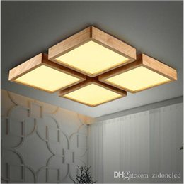 Wood light fixture ceiling online shopping - New Creative Wood Modern Led Ceiling Lights Square Ceiling Chandeliers for Living Room Bedroom Wooden Ceiling Lamp Fixtures