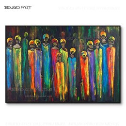 artist figures Australia - Gifted Artist Hand-painted High Quality Rich Colors Abstract African Figures Oil Painting Africa Black Woman Knife Oil Painting