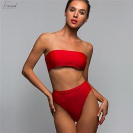 HigH waist swimwear online shopping - High Cut Leg Bandeau Female Swimsuit High Waist Bikini Solid Women Swimwear Two Pieces Bikini Set Bather Suit Swim Bathing V485