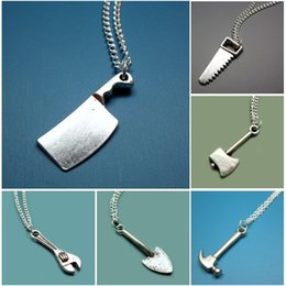 Chain Sawing Australia - Household Tool Necklace Shovel Wrench Saw Ax Kitchen Knife Collar Choker Punk Gothic Necklaces Pendants Women Fashion Jewelry Creative Gifts